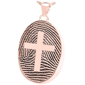Oval Fingerprint Pendant with Cross