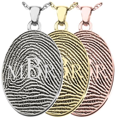 Oval Fingerprint Pendant with Monogram