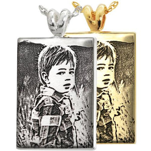 Rectangle 3D Photo Engraved Pendant