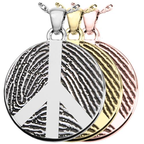 Round Fingerprint Pendant with Peace Sign