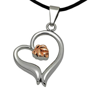 Rose Heart Cremation Pendant- Stainless Steel