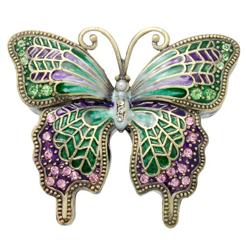 Green Butterfly w/ Pink Crystals Urn Keepsake