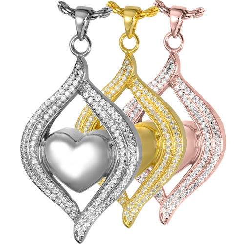 Teardrop Ribbon Heart Pendant