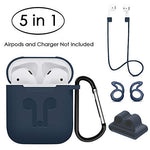 AirPods Case, 5 in 1 Accessories Kits, Silicone Protective Skin with Ear Hook, Anti-Loss Strap, Watch Band Holder and Keychain