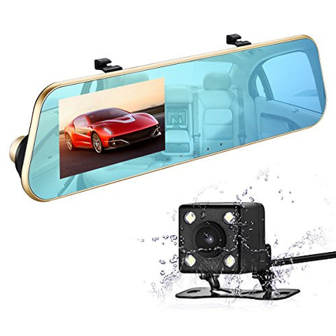 1080P HD Car Video Recorder Dash Cam Rearview Mirror Cam with Front and Back Camera, G-Sensor, Loop Recording