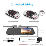 "Backup Camera 4.3"" Mirror Dash Cam 1080P Touch Screen Front and Rear Dual Lens with Parking Assistance G-Sensor, Waterproof Rear View Revers Camera"