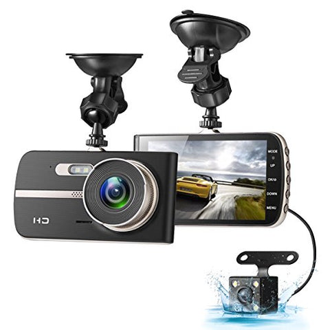 Dash Cam, 1080P HD Dual Channel Dashboard Cameras Front and Rear, Driving Video Recorder with 4.0'' Screen, Built in G-Sensor, Motion Detection, Loop Recorder