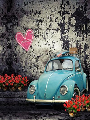 Katebackdrop:Kate Valentine'S Day Brick Wall Retro Car Photography Backdrops