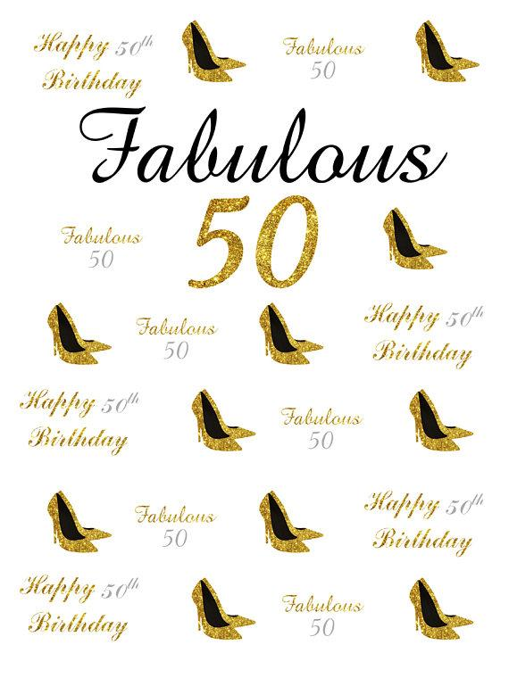 Katebackdrop:Kate 50th Birthday Gold Custom Step and Repeat Photo Backgrounds for Party