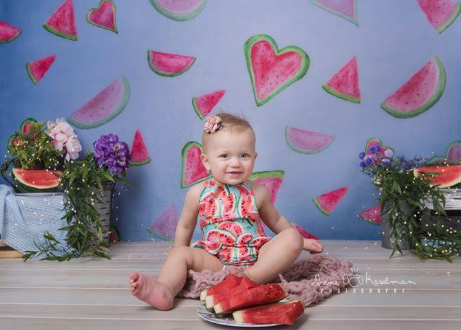 Kate Watermelon Faded Love Backdrop von Arica Kirby entworfen