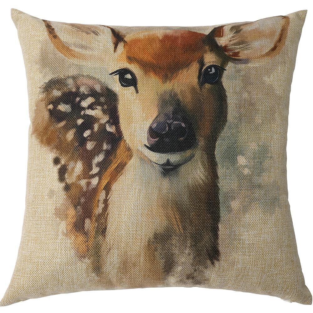 Katebackdrop:Kate Hand Painting Deer Decorative Pillow cases 18 x 18 Inches Square Decor Cushion Cover Throw Pillow Cover