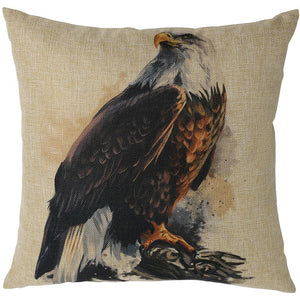 Katebackdrop:Kate Throw Pillow Cover 18 x 18 Inch Cotton Linen Blend Cushion Case Decorative Hand Painting Style Eagle Pillowcases