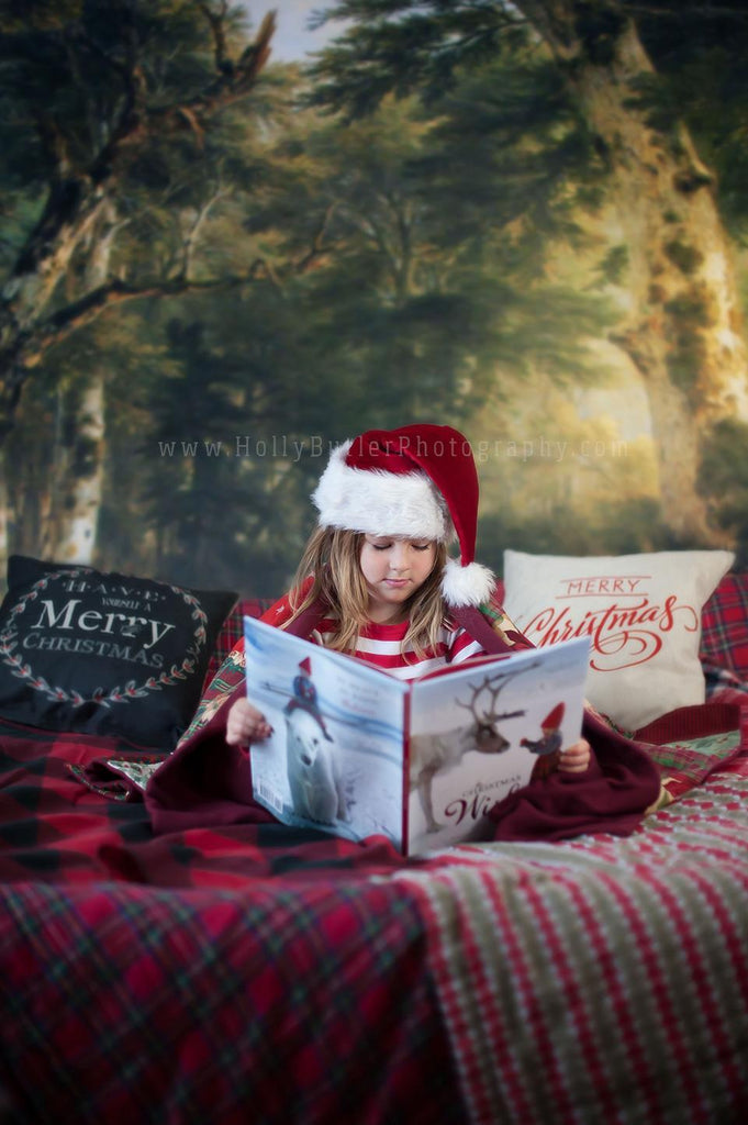 Katebackdrop:Kate Forest Old Green Trees Scenery Photography Backdrops for Christmas