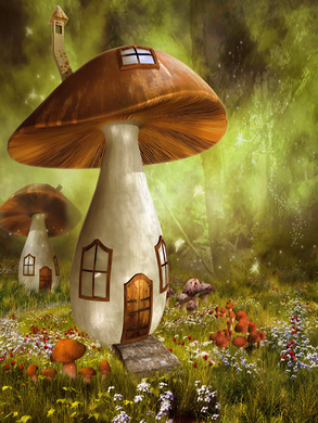 Katebackdrop:Kate Mushroom House Children Backdrop Magical Fabric Printed