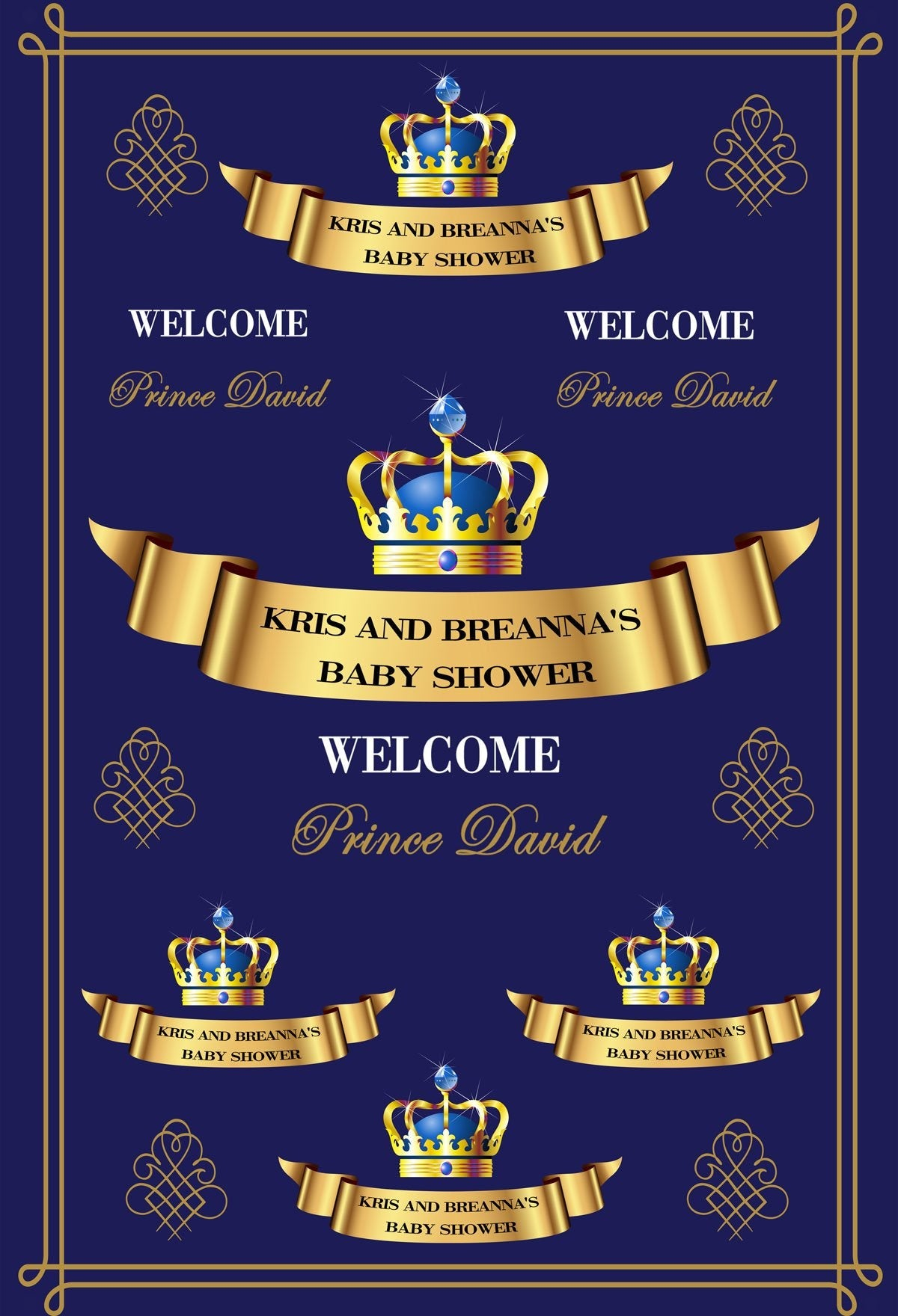 Katebackdrop:Kate Baby Shower Blue Backdrop Blue Gold Crown Step and Repeat