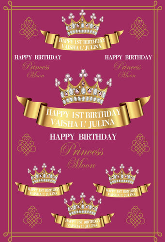 Katebackdrop:Kate Birthday Party Purple Backdrop Golden Crown with Diamond