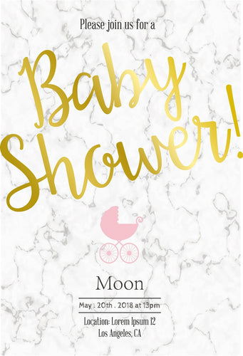 Katebackdrop:Kate Baby Shower White Marble Backdrop with Pink Baby Carriage