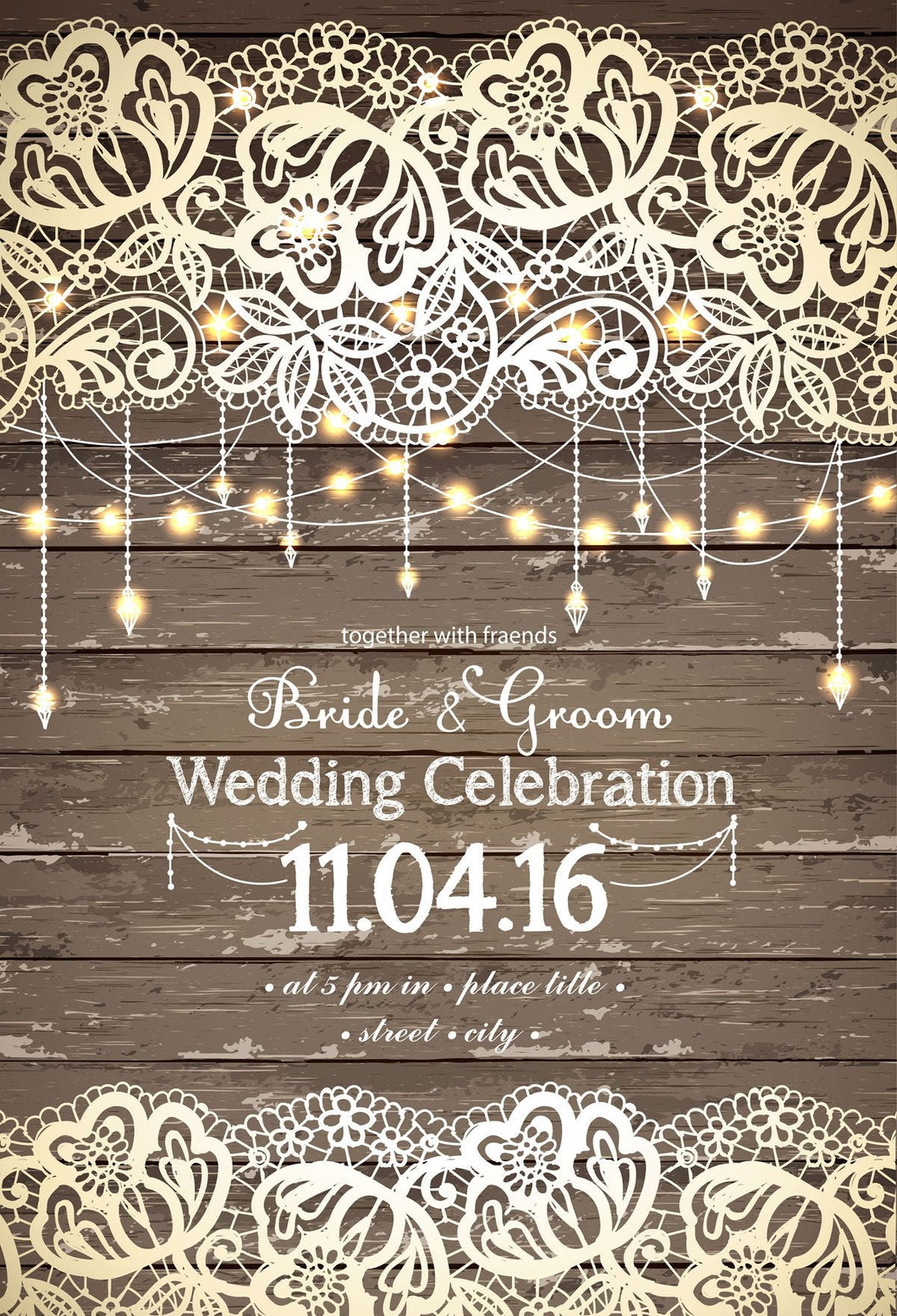 Katebackdrop:Kate Bridal Wedding Party Brown Wood Backdrop with beautiful Lights