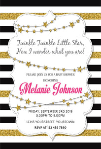 Katebackdrop:Kate White Golden Black Stripe Backdrop with Golden stars Baby Shower