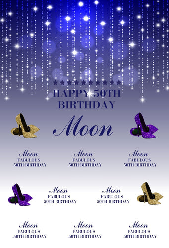 Katebackdrop:Kate 50th Birthday Party shiny Blue and White Backdrop with Purple and Golden high-heeled shoes Step and Repeat