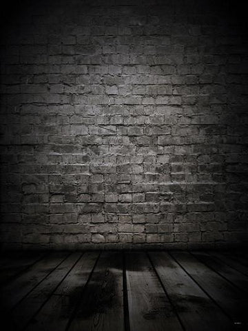 Katebackdrop:Kate Black Brick With Floor Backdrops Digital For Photography