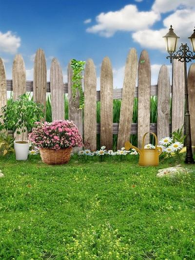Katebackdrop:Kate Fence Spring /Easter Photo Easter Farmhouse Style Green Grass For Baby