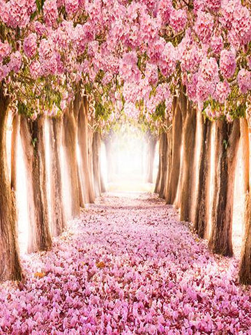 Katebackdrop Kate Pink Floral Road and Tree Backdrops Spring Scenery Photo