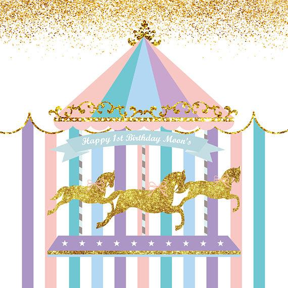 Katebackdrop:Kate Carousel Horses Circus Blue Banner Photography Backdrops for Boy Baby Shower