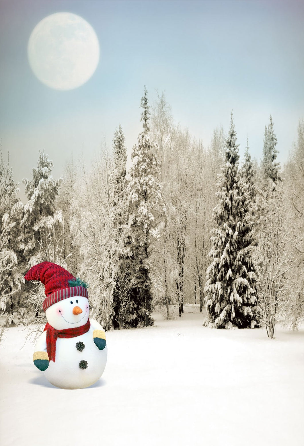 Katebackdrop:Kate Snowman Moon Frozen Trees Winter Backdrop for Photography