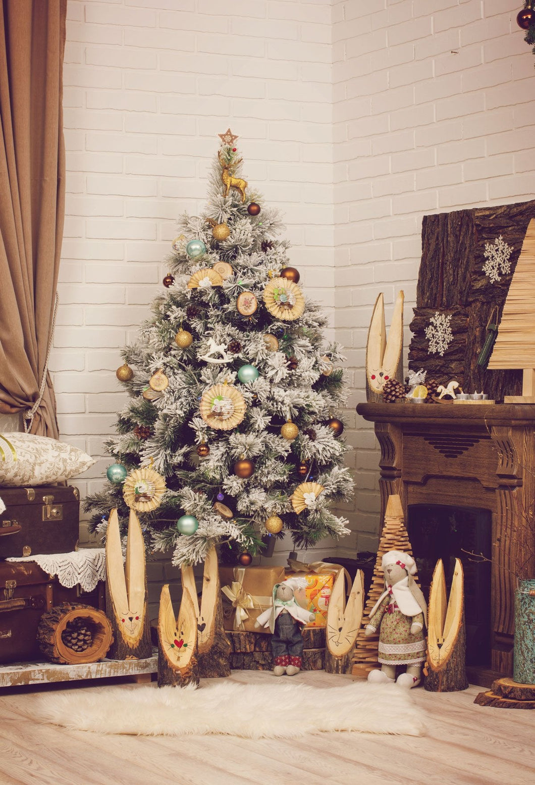 Katebackdrop:Kate Christmas tree Warm Lights Backdrop room corner