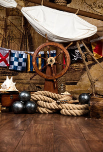 Katebackdrop:Kate Pirates Ship Deck With Steering Wheel And Flag photo backdrop