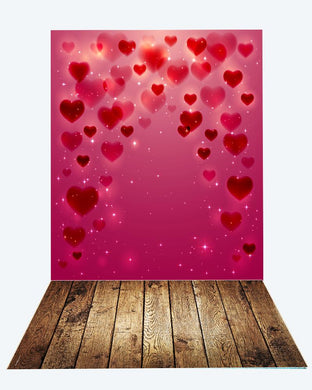 Katebackdrop:Kate heart Valentine's Day backdrop+brown dark wood floor mat