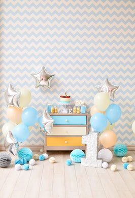 Katebackdrop:Kate 1st Birthday Silver Star balloon Chevrons and Strips Children Backdrop