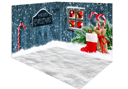 Katebackdrop:Kate Christmas wood snow outside room set
