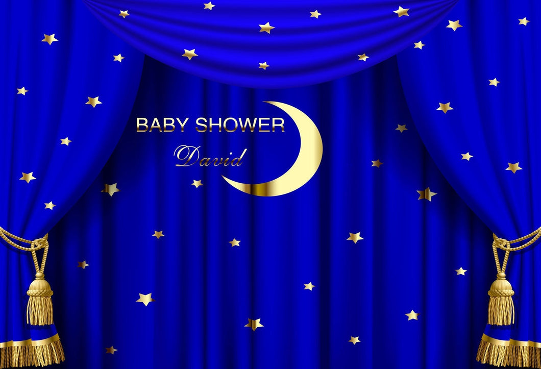 Katebackdrop£ºKate Blue Curtain Moon Baby Shower Backdrop Custom for Photography