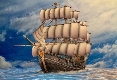 Katebackdrop:Kate Pirate Ship backdrop blue sky sea fantastic children