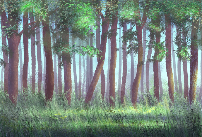 Katebackdrop:Kate Easter/Spring Green Trees Grass Deep Forest Backdrop
