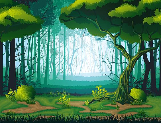 Katebackdrop:Kate Green Trees Spring Forest Hand Painting Backdrop