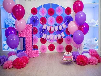 Katebackdrop:Kate Green 1st Birthday Pink Flower Baloon Backdrop