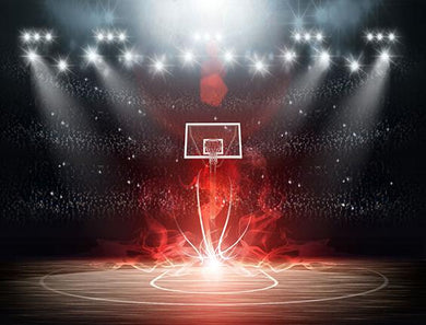 Katebackdrop:Kate Light Basketballfield Red Fire Backdrop Sport
