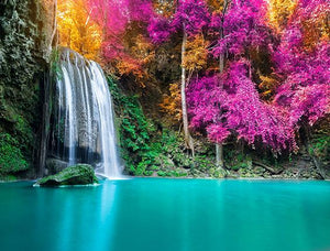 Katebackdrop:Kate Waterfall Blue Lake Colorful Flower Backdrop