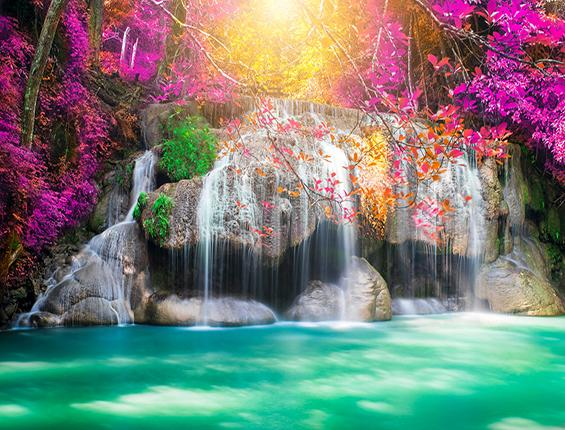 Katebackdrop:Kate Waterfall Green Lake Purple Flower Sunshine Backdrop