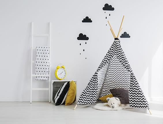 Katebackdrop:Kate Black White Strip Tent Rainy Cloud Teddy Backdrop