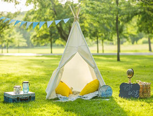 Katebackdrop:Kate White Tent Blue Flag Green Grass Backdrop Outdoor