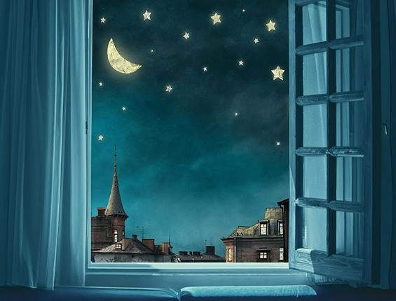 Katebackdrop:Kate Blue Window Night View City Backdrop