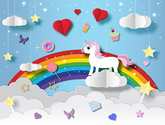Katebackdrop:Kate Blue Sky Colorful Rainbow Unicorn Candy Backdrop for Children