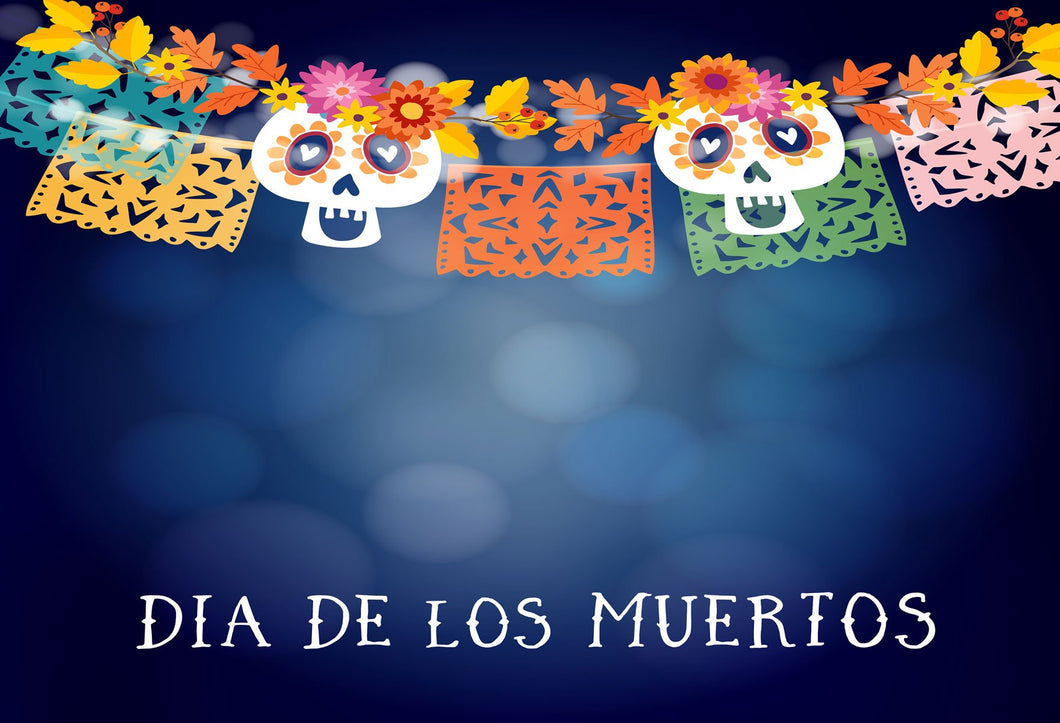 Kate Muertos Dark Blue Bokeh Background With Skull Banner für Fotografie