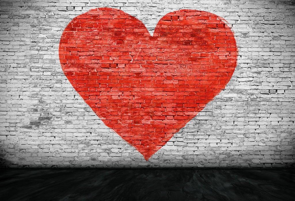 Katebackdrop:Kate Red Heart White Brick Wall Valentines Day Backdrop