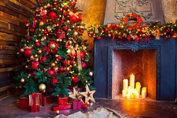 Katebackdrop:Kate Christmas fireplace and tree backdrop for photos