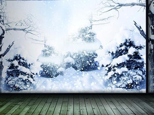 Katebackdrop:Kate Snow Cotton Winter Tree Gray Wall Wood Floor For Photography Studio